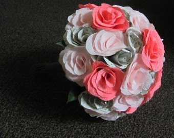 Crepe paper rose bridal bouquet