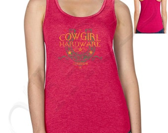 Cowgirl Hardware Ladies Racer Back Tanks Cowgirl Hardware Racerback Western Authentic Women's Tank Top - 1333C_ALTT