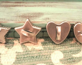 Oh My Stars! And Hearts... (Set of 4 Vintage 1950s Tin Cookie Cutters)