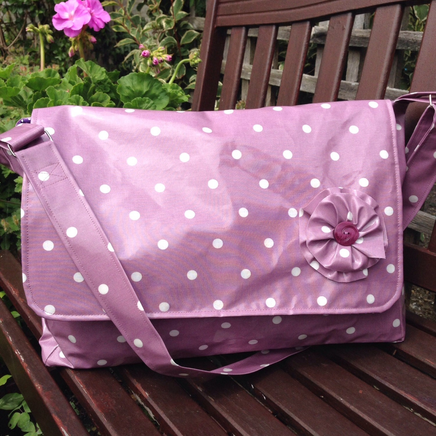 baby girl diaper bag stroller bag purple by pennylovesfabricco. Black Bedroom Furniture Sets. Home Design Ideas