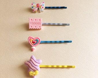 Set of Kawaii Bobby Pins, Set of Bobby Pins, Set of Kawaii Hair Clips, Bobby Pins, Assortment of Bobby Pins