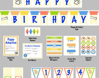 Printable dog party decorations