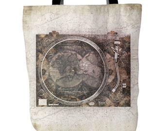 Vintage Turntable Map Tote Bag