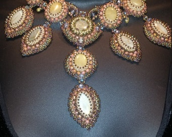 Specialty Piece,Victorian Design Statement Necklace, Original, Authentic,gold beading,natural