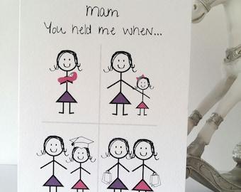Happy Birthday Mam or Mum from Daughter Card, mam, mum, mother, daughter, variation, girl, mom, birthday, handmade, ireland