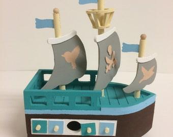 Beautiful Handmade Pirate Ship Wooden Birdhouse, Blue/Brown Custom Made Birdhouse, Gift, Table Centerpiece/Room Decor/Bird Watching