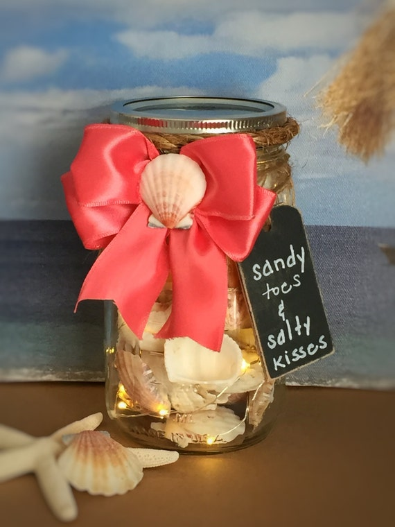 Seashell Filled Mason Jar Light/Sandy Toes & Salty Kisses/Coral Beach Decor/Battery Operated/Outside Light/Beach Cottage Decor/Summer Time