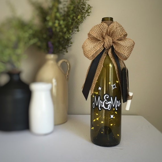 Mr&Mrs/Black and White/Wine Bottle Light/Fairy Lights/ Battery Operated/Recycled Glass Bottle/Couples Gift/Wedding Gift/Wine Lovers Gift