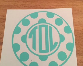 Polka Dot Circle Monogram Decal, Yeti Decal,  Vinyl Decal, Car Decal, Phone Decal, Laptop Decal, Water Bottle Decal, Vinyl Sticker