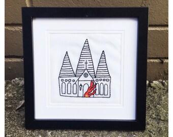 Burning Church Framed Embroidery
