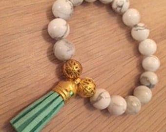 white marble tassel bracelet