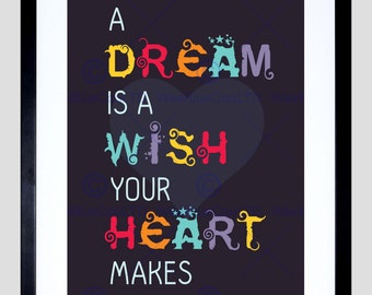Quote Type Text Graphic Dream Wish Heart Love Art Print Poster FEHP171