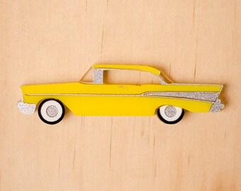 Yellow Retro '57 Chevy Brooch