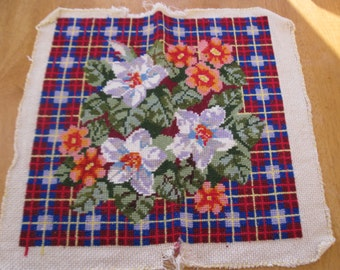 Vintage finished needlepoint. Flower bouquet with plaid background.
