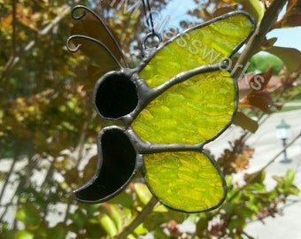 Semi-colon stained glass butterfly