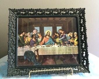 Vintage black plastic baroque frame