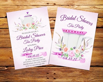 Bridal Shower Tea Party Invitation,Vintage Bridal Tea Party Invite,Tea Party,Bridal Shower,Printable Floral Invite,Watercolor Invitation
