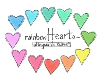 rainbow hearts clipart • 12 png files with transparent backgrounds • hand drawn