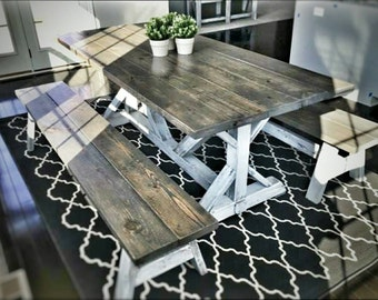 Trestle style dining table and benches