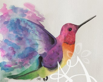 Watercolor Hummingbird Print