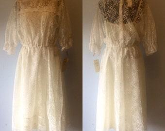 Vintage Deadstock Gunne Sax White Lace Dress. 2 pieces, white, lace, ribbon. Large. L.