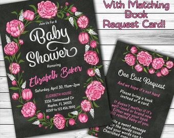 Floral Baby Shower Invitation, Rose Baby Shower Invitation, Chalkboard Baby Shower Invitation, Girl Baby Shower, Book instead, Printable