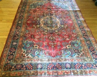 super antique persian rug hand knotted wool signed 6.4 x 9.4