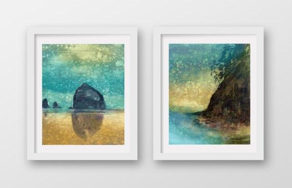 SET of TWO Oregon Coast Rain prints, limited edition, giclee prints, Cannon Beach, Haystack Rock, coastal art, print set