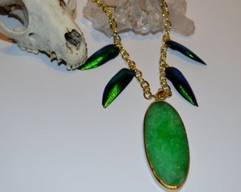 Jewel beetle elytra wing and stone slice necklace