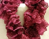 Ruffled crocheted Sashay sequins scarf in hot pink