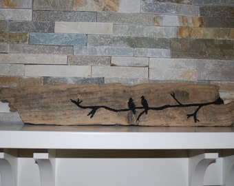 Recycled Drift Wood- Love Birds
