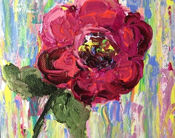 Impressionistic pink and magenta floral..acrylic...small...