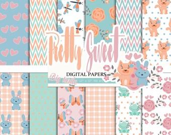 50% OFF SALE Pretty digital paper pack, Spring digital paper, Spring pattern, Wedding pattern, Scrapbook Paper, Printable Background, 12 JPG