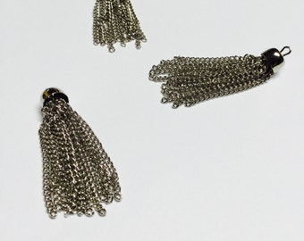 Silver Plated Chain Tassels - 24 Pieces - #388