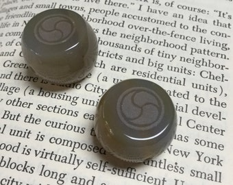 Etched Agate Bead with Triple Yin Yang Symbol - 2 Pieces - #650