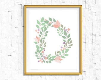 Instant Download Personalized Name Nursery Printable Monogram Art Print | Custom Nursery Printable Monogram Floral Letter D | FA-749 D-128P