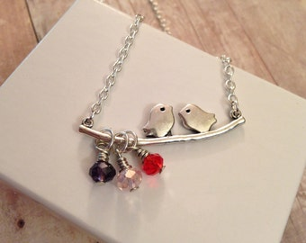 CUSTOM mother or grandmother silver plated necklace with lovely birds-on-branch connector and birthstone crystals