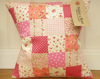 Pink Patchwork Style 12 x 12 inch Cushion Cover with Insert