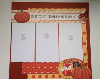 Fall Two Page Scrapbook Layout, Premade, 12 x 12, Pumpkin Patch
