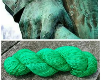 Hand Dyed Yarn, Ultra Soft Single Ply Merino Fingering Weight Tonal Yarn Perfect for Shawls and Other Special Accessories - Verdigris