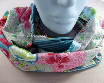 Loop, red, pink, grey, white scarf, scarf, Endlosschal, flowers, gifts wife, girlfriend, daughter with patchwork pattern, in turquoise, green,