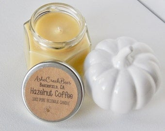 Hazelnut Coffee Scented 100% Pure Filtered Beeswax Candle