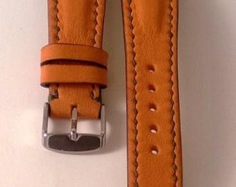 Leather watch strap, orange, dark green thread