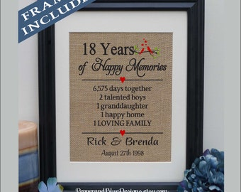 18th wedding anniversary gifts 18 years married 18 years together gift for anniversary