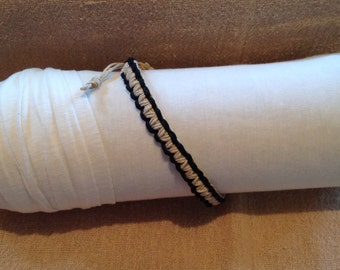 Cream Square Knot Bracelet outlined with Black Hemp Cord