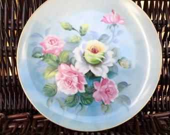 Lefton Hand Painted Plate with Pink and Yellow Roses SL2816 - Really Nice Ready to Hang