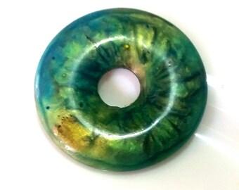 Donut pendant mix handmade resin green opal