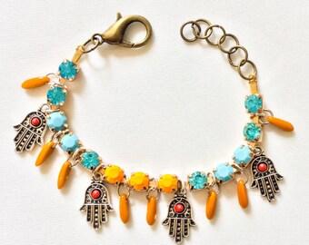 Charm Bracelet sale hand-painted Orange-Namaste 15% OFF