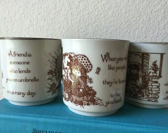 3 Vintage 80s Strawberry Shortcake Ceramic Friendship Mugs