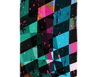Painted Checkers Board Beach Towel
